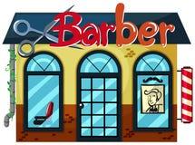 Un negozio di barbiere su fondo bianco Immagine Stock