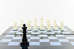 Un negro y ajedrez de los blancos Imágenes de archivo libres de regalías