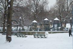 Un nevado Boston de Central Park, EUA o 11 de dezembro de 2016 Fotos de Stock Royalty Free