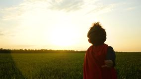 Un niño en un traje del super héroe corre a través de la hierba verde en un fondo de la puesta del sol metrajes