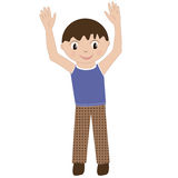 Un niño feliz con sus manos para arriba en un fondo blanco El muchacho del muchacho Fotos de archivo