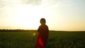 Un niño feliz en un traje del super héroe corre a través de un césped verde en un fondo de la puesta del sol almacen de video