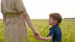 Un niño lindo lleva a cabo la mano de su madre y emociones de las experiencias: alegría, felicidad El muchacho sonríe en su madre almacen de metraje de vídeo