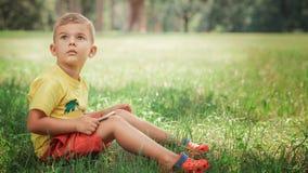 Un niño pequeño se está sentando con el teléfono en la hierba Fotografía de archivo