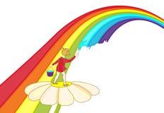 Un niño pinta un arco iris stock de ilustración