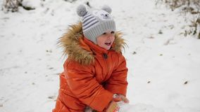 Un niño que balancea en un árbol caido en el parque del invierno almacen de video