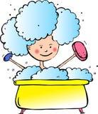 Un niño se baña en baño stock de ilustración