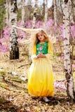 Un niño se coloca entre el ledum y el abedul en vestido amarillo verde, la sonrisa y el pelo de la mosca Foto de archivo