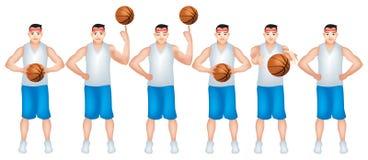 Un niño tan experto en juego de baloncesto ilustración del vector