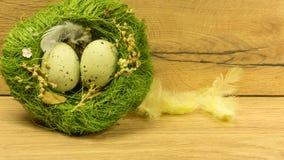 Un nid avec des oeufs de pâques en vert Image stock