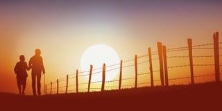 Un nostálgico retiró pares, camina en una trayectoria en la puesta del sol libre illustration