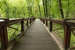 Un nouveau grand pont en bois large en parc, croisant la gorge Image libre de droits