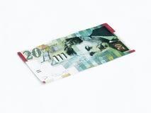 Un nouveau type de billet de banque en valeur 20 shekels israéliens d'isolement sur un fond blanc Photo stock
