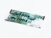 Un nuevo tipo de billete de banco digno de 20 shekels israelíes aislado en un fondo blanco Fotos de archivo libres de regalías