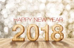 un numero di legno di 2018 buoni anni nella stanza di prospettiva con lo sparkli Fotografie Stock Libere da Diritti