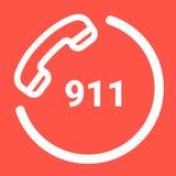 Un numero di telefono di 911 emergenza isolato su un fondo bianco Illustrazione dell'icona di vettore illustrazione di stock