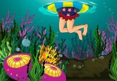 Un nuoto della ragazza illustrazione di stock