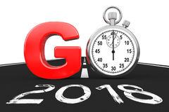 Un nuovo concetto di 2018 anni Il cronometro come va cede firmando un documento 2018 nuovi anni R Immagine Stock Libera da Diritti