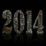Un nuovo simbolo di 2014 anni su backround nero. Cartolina d'auguri di Natale Fotografia Stock
