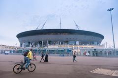 Un nuovo stadio sull'isola di Krestovsky, conosciuta come l'arena di San Pietroburgo La Russia Immagini Stock