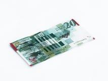 Un nuovo tipo di banconota degno 20 shekel israeliani ha isolato la n un fondo bianco Fotografia Stock Libera da Diritti