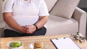 Un nutritionniste donne des pommes et un hamburger à un client image libre de droits