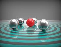 Un obiettivo con alcune sfere del metallo Fotografia Stock Libera da Diritti