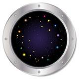 Un oblò d'argento scuro della finestra dell'astronave con spazio, il cielo blu scuro ed il vettore variopinto delle stelle Illust fotografia stock libera da diritti