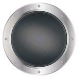 Un oblò d'argento scuro della finestra dell'astronave con spazio, il cielo grigio scuro ed il vettore delle stelle Illustrazione  fotografia stock