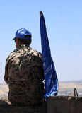 UN Observer with Flag in Golan Heights Stock Image