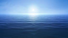 un océano azul con el sol sobre el horizonte ilustración del vector