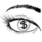 Un occhio per l'abbozzo di profitto illustrazione di stock