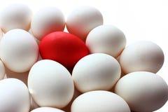 Un oeuf rouge parmi un groupe d'oeufs blancs, un détail parmi les autres Images libres de droits
