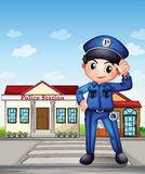 Un oficial de policía delante de una comisaría de policías libre illustration