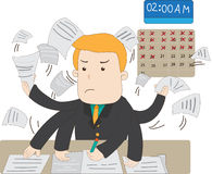 Un oficinista del sueldo de la historieta está ocupado trabajo en horas extras con el abrazo Imagen de archivo libre de regalías
