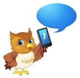 Un oiseau avec le téléphone portable illustration libre de droits
