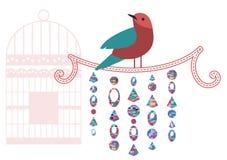 Un oiseau sur une perche avec les éléments décoratifs illustration de vecteur