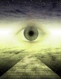 Un ojo en el camino amarillo del ladrillo ilustración del vector