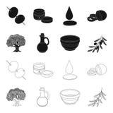 Un olivo, una rama con las aceitunas, un buque y un jarro de aceite Las aceitunas fijaron iconos de la colección en el negro, est Foto de archivo