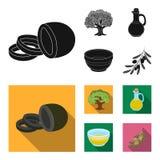 Un olivo, una rama con las aceitunas, un buque y un jarro de aceite Las aceitunas fijaron iconos de la colección en vector negro, Imagen de archivo
