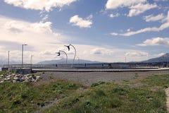 Un omaggio al vento in Puerto Natales nella Patagonia, Cile Fotografia Stock Libera da Diritti