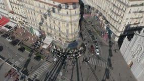 Un'ombra di una ruota panoramica di Marsiglia stock footage