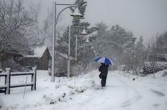 Un ombrello nella neve Fotografie Stock