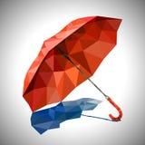 Un ombrello rosso nel poli vettore basso di stile Immagini Stock Libere da Diritti