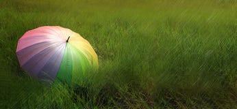 Un ombrello sul campo verde nel giorno piovoso Immagine Stock