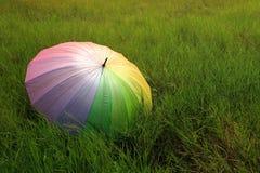 Un ombrello sul campo verde nel giorno piovoso Fotografia Stock Libera da Diritti