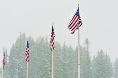 Un'onda di quattro bandiere degli Stati Uniti in neve di caduta Fotografia Stock