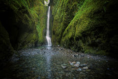 Un Oneonta más bajo baja cascada situada en la garganta occidental, Oregon Foto de archivo