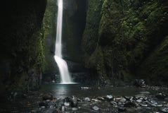 Un Oneonta más bajo baja cascada situada en la garganta occidental, Oregon Imágenes de archivo libres de regalías