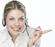 Un opérateur amical de secrétaire/téléphone Photographie stock